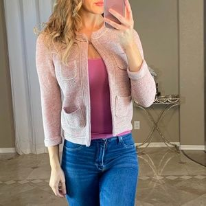 Ann Taylor Pink Cream Knit Swing Pocket Cardigan